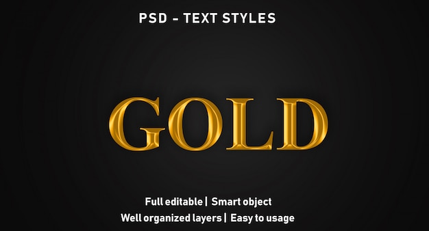 Gold text effects style editable psd
