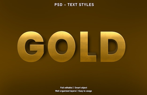Gold text effects style template