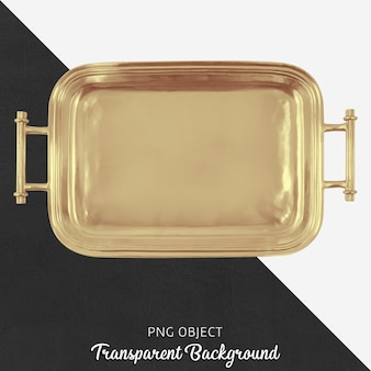 Gold tray on transparent background