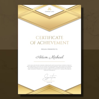 Gold white certificate of achievement template