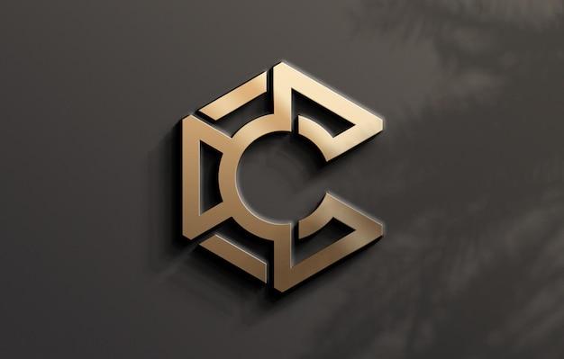 Золотой 3d дизайн макета логотипа