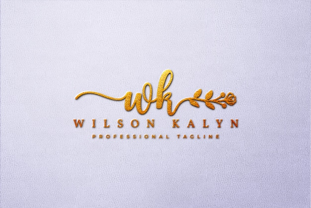 Golden 3d logo mockup on white leather