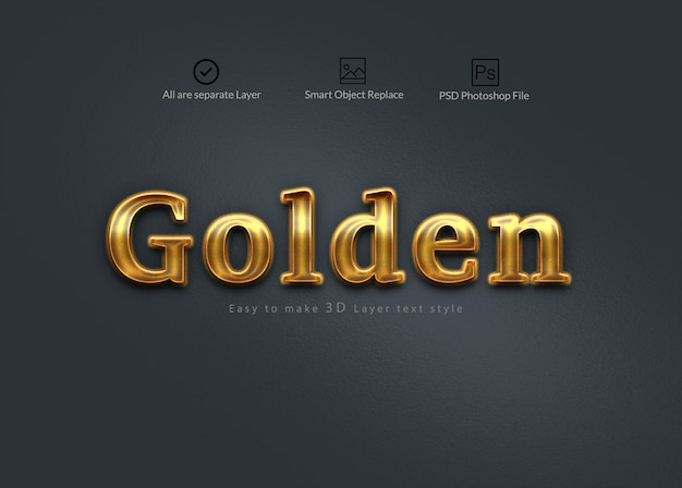 Golden 3d photoshop layer text effect