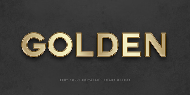 Golden 3d text effect
