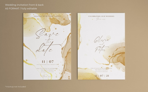 Golden abstract wedding invitation template