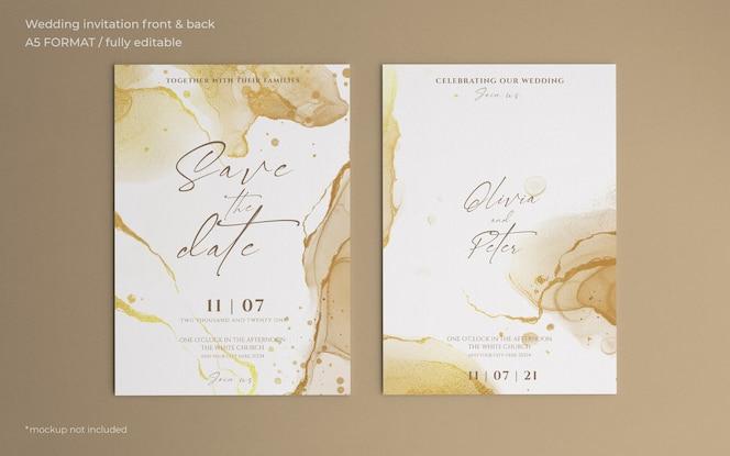 黄金の抽象的な結婚式の招待状のテンプレート