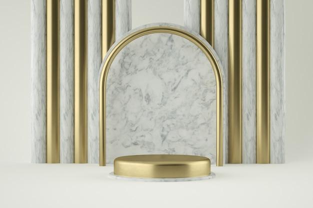 제품 발표를위한 황금과 대리석 연단