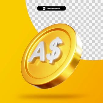 Золотая монета австралийских долларов 3d-рендеринга изолированные Premium Psd