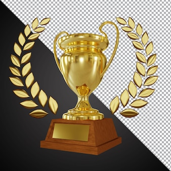 Golden award trophy cup 3d composition isolated