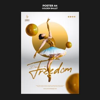 Золотой балетный плакат шаблон