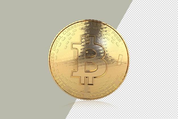 Золотые биткойны на белом фоне 3d иллюстрация