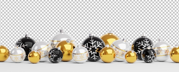 Golden and black christmas balls lined up