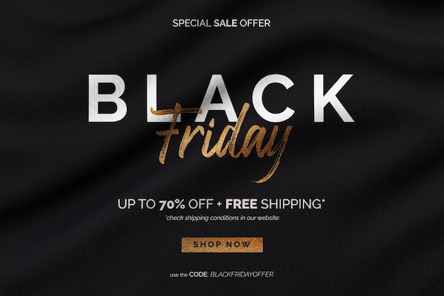 Golden black friday sale banner in wavy fabric background
