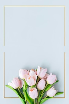 Golden blooming tulip frame design