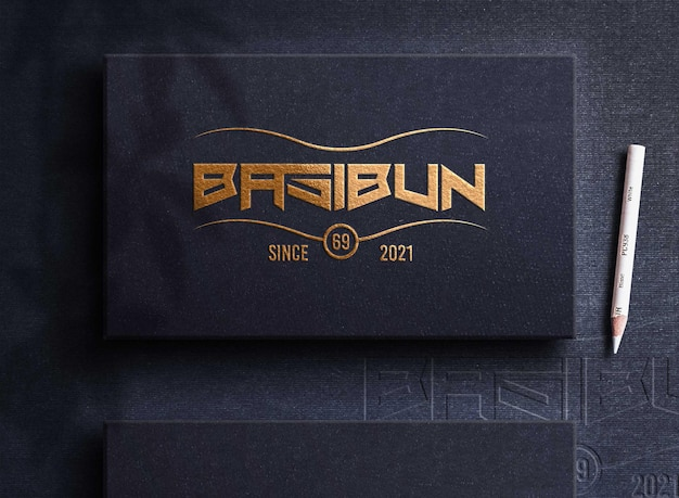 Golden boc logo mockup