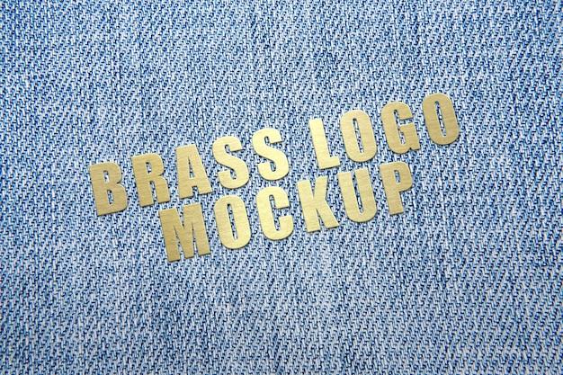 Golden brass logo mockup