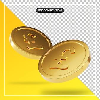 Golden british pound coins in 3d render isolated