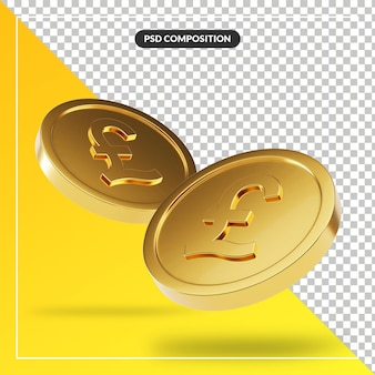 分離された3dレンダリングの黄金の英国ポンド硬貨