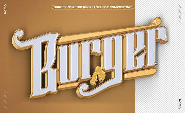 Golden burger 3d rendering label isolated
