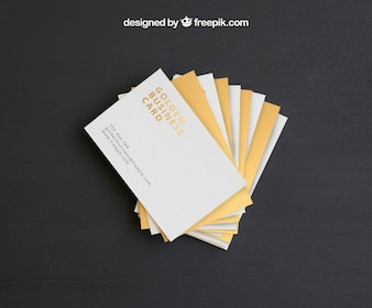 Golden business card mock up template