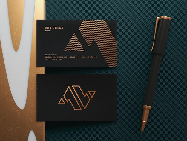 Golden business card mockup template