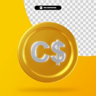 Золотая монета канадский доллар 3d-рендеринг изолированные
