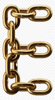 Золотая цепочка алфавит буква e, изолированные на прозрачной, 3d иллюстрации