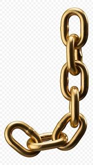 Золотая цепочка алфавит буква j, изолированные на прозрачной, 3d иллюстрации