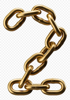 Golden chain alphabet number 2 isolated on transparent, 3d illustration