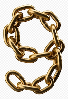 Golden chain alphabet number 9 isolated on transparent, 3d illustration