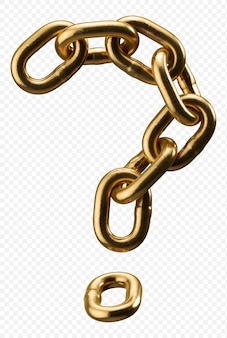 Golden chain alphabet question mark isolated