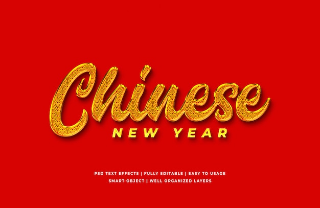 Golden chinese new year text effect