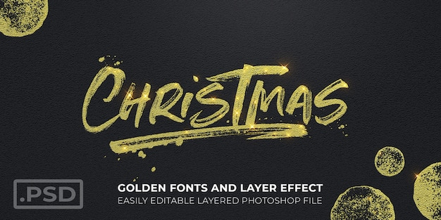 Golden christmas text style effect mockup card