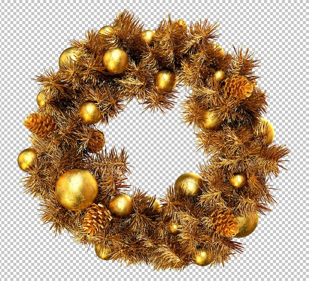 Golden christmas wreath on white background. 3d rendering