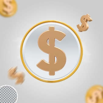 Золотая монета доллар значок