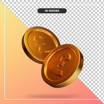 Golden coin visual in 3d rendering