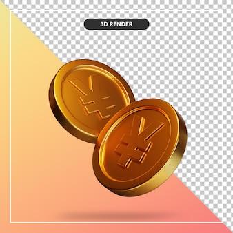 Golden coin yen visual in 3d rendering