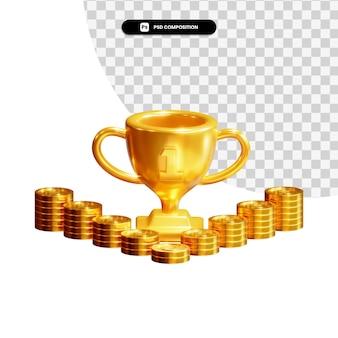 Золотые монеты с трофеем в 3d-рендеринге изолированы