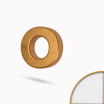 Золотая цветная строчная буква o металлический глянцевый 3d-рендеринг