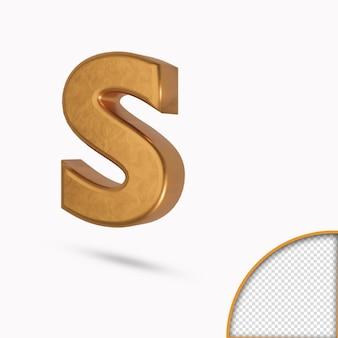 Золотая цветная строчная буква s металлический глянцевый 3d-рендеринг