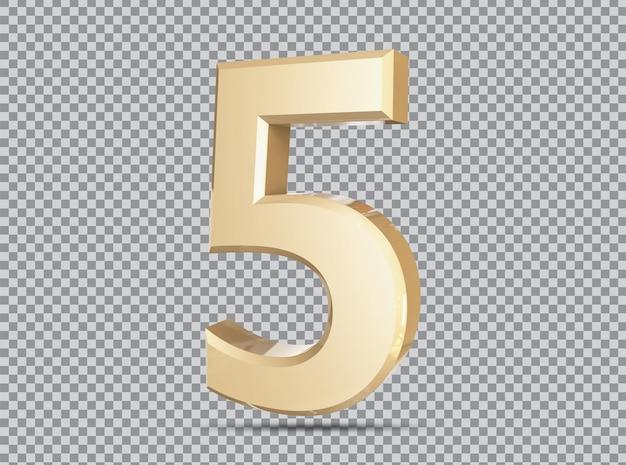 Golden concept 3d number 5 render
