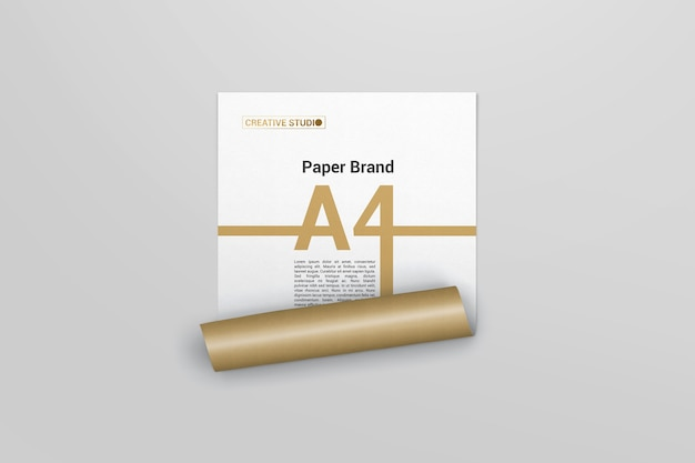 Golden cover mockup with roll effect