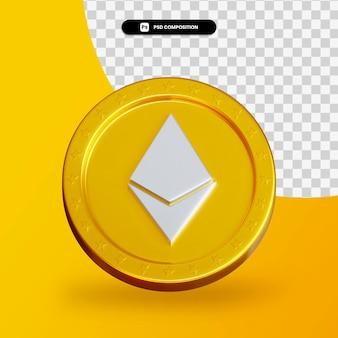 Золотая монета криптовалюты 3d-рендеринга изолированные