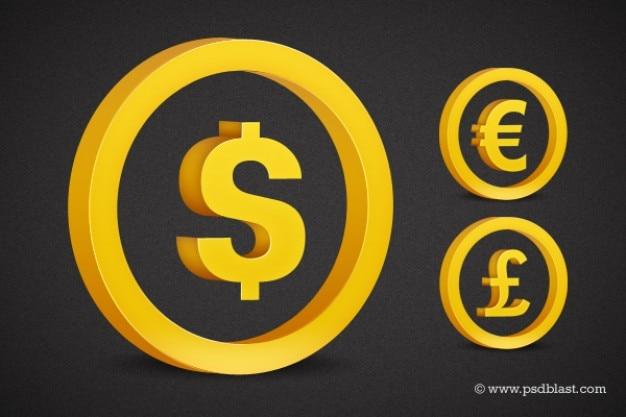 Golden currency symbol set psd
