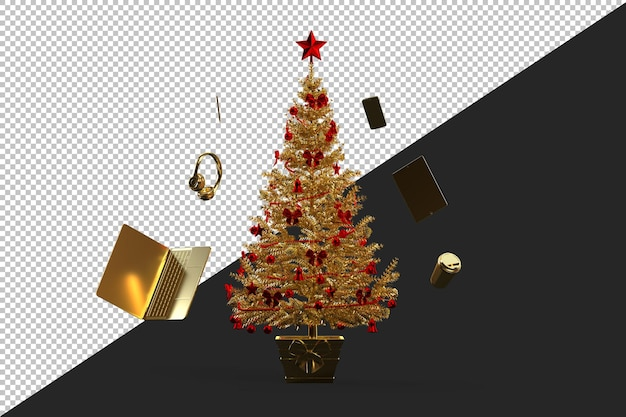 Golden decorated christmas tree isolated