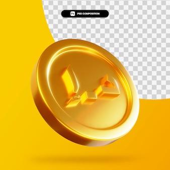 Золотой дирхам монета 3d-рендеринга изолированные