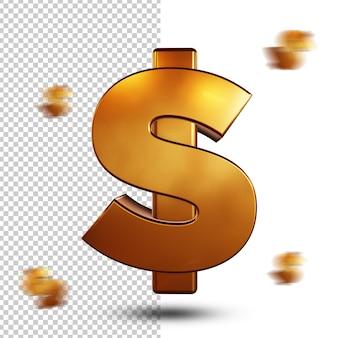 Golden dollar sign 3d rendering