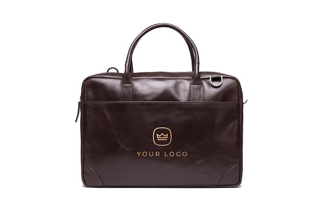 Макет офисной сумки для ноутбука с золотым эффектом