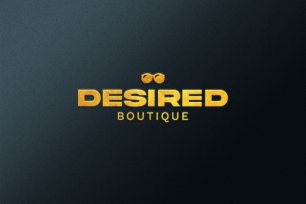 Golden embossed logo mockup isolated