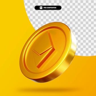 Золотая монета эфириум 3d-рендеринга изолированные